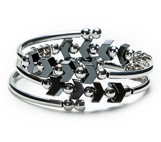 Chevron Hematite Spiral Bracelet