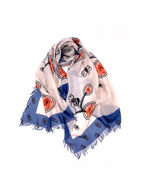 Bee Floral Scarf Blue