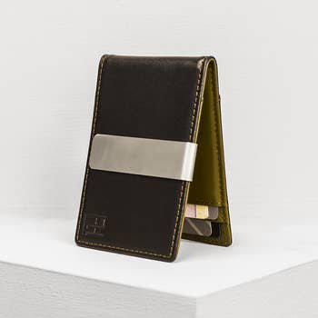 Downtown Black and Olive Money Clip Wallet
