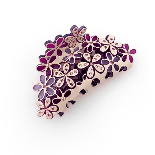 Lavender/Cream with Pink Crystals Hair Claw