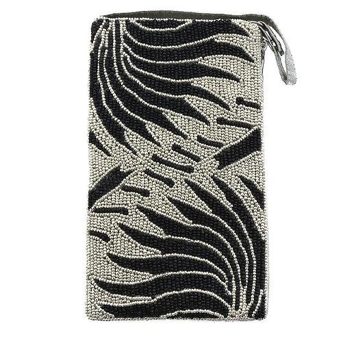 Zebra Beaded Phone Bag