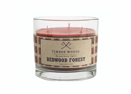 Redwood Forest Timber Woods Glass Candle