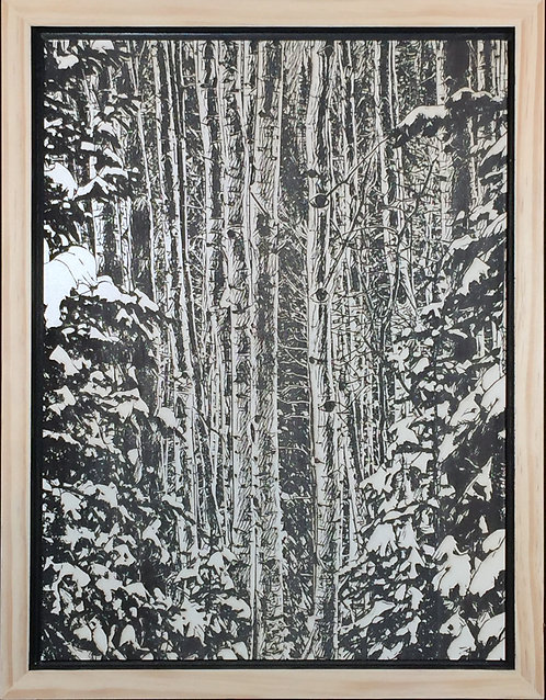 Alder in snow covered firs.  12x16
