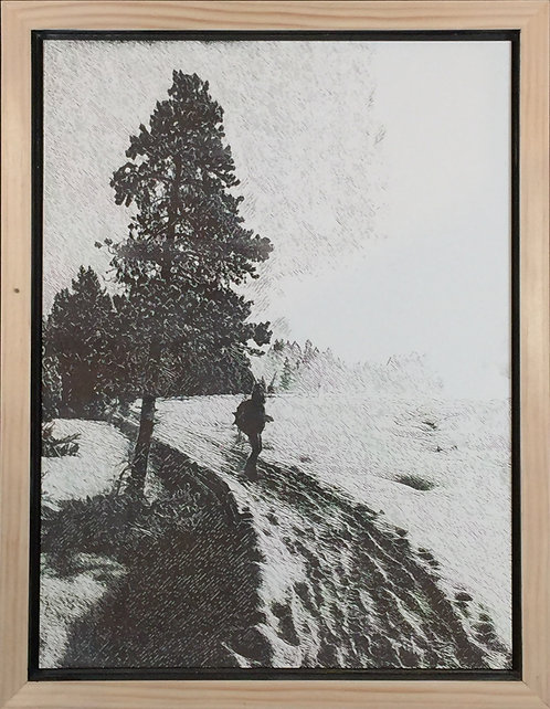 Skier at Paint Pots in Yellowstone, 12x16