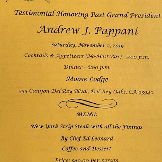 Testimonial Dinner for ICF Past Grand President Andrew Pappani