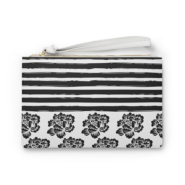 Lines & Flowers Clutch Bag