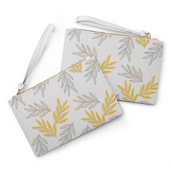 Yellow Leaf Clutch Bag