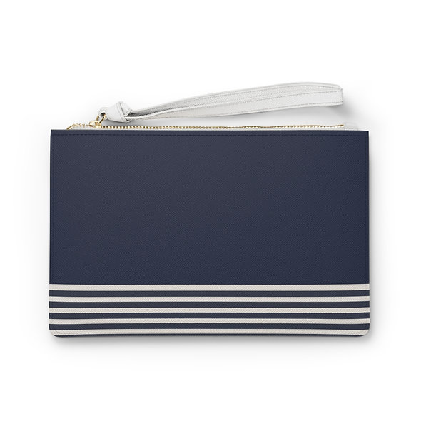 Blue with Lines Clutch Bag