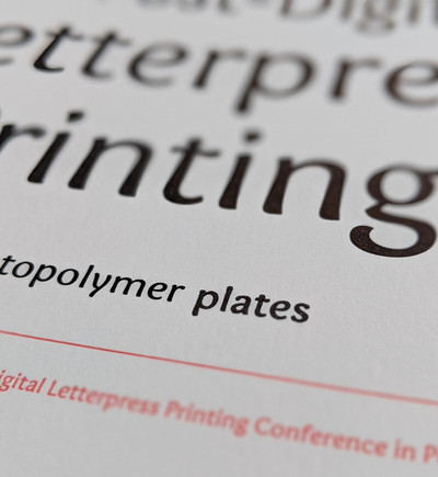 """Broadside detail. The word """"photopolymer"""" was printed in high-res laser printer. The word """"plates"""" and the word """"printing"""" was letterpress printed."""