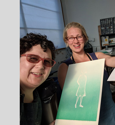 First Pass, Rebecca Mullins and I with print and pressure print