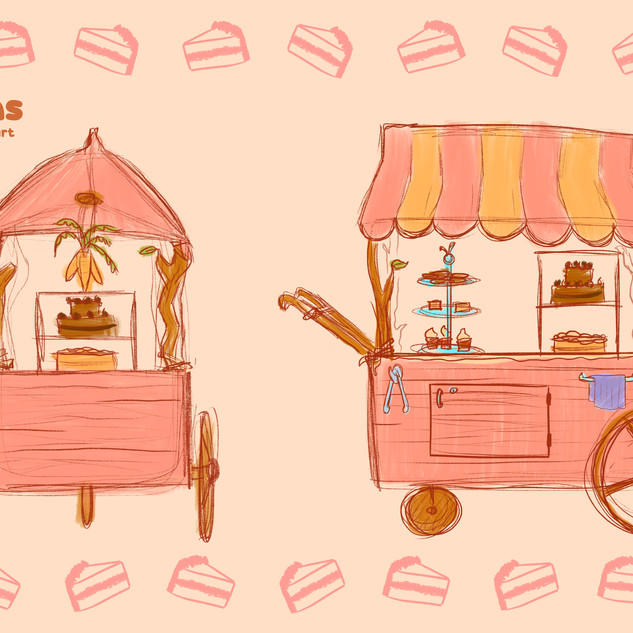 Bun's Buns Cart sketches