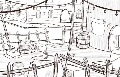 The Tin Bin Patio Sketch