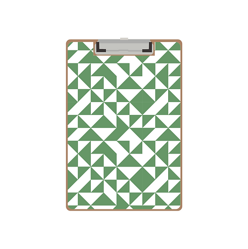 CLIPBOARD green quilt triangle pattern