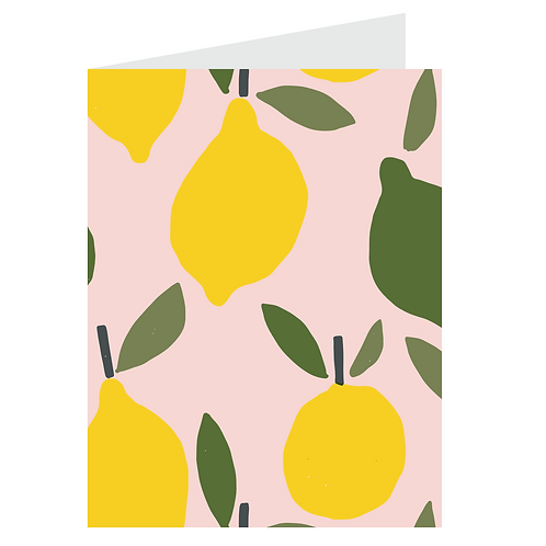 lemons card - pink