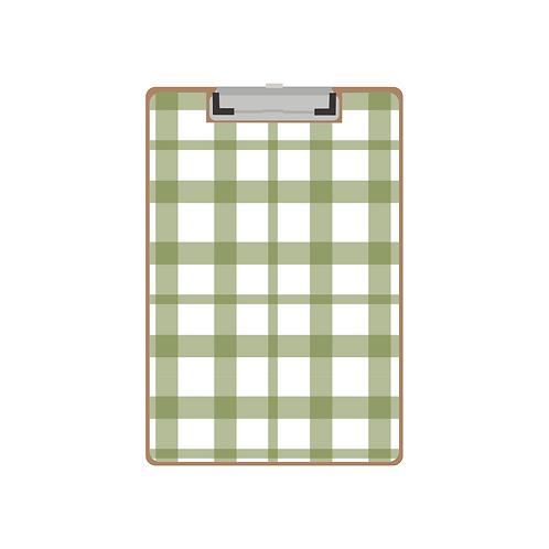 CLIPBOARD green gingham twist pattern