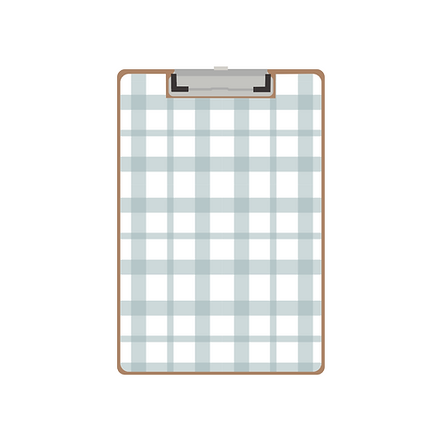 CLIPBOARD robin blue gingham twist pattern