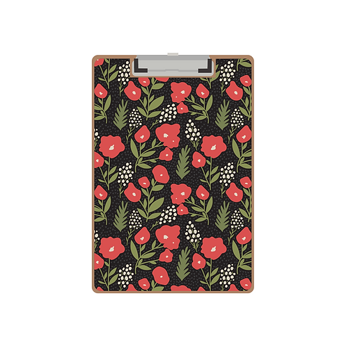 CLIPBOARD pocket full of posies red on black pattern
