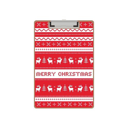 CLIPBOARD red folk reindeer Christmas pattern