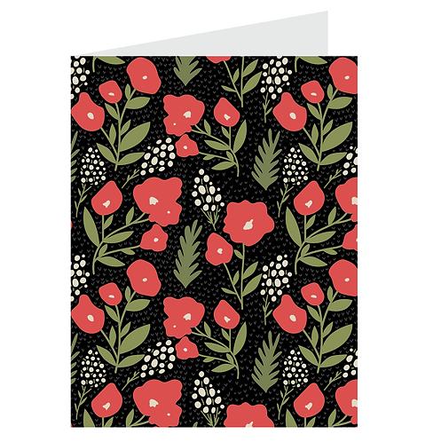 posies card - berry on black