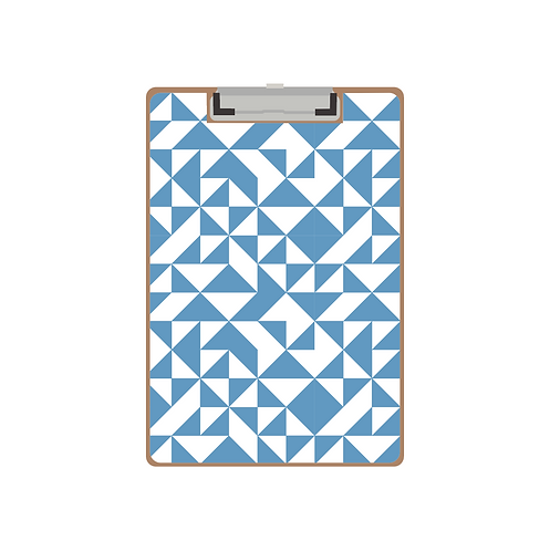 CLIPBOARD blue quilt triangle pattern
