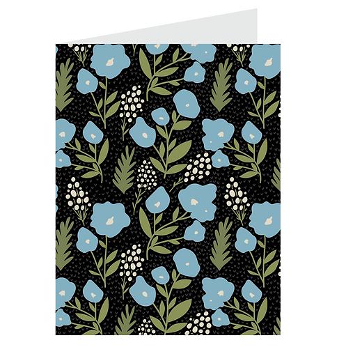 posies card - blue on black
