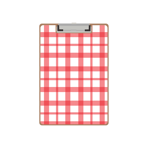 CLIPBOARD red gingham twist pattern