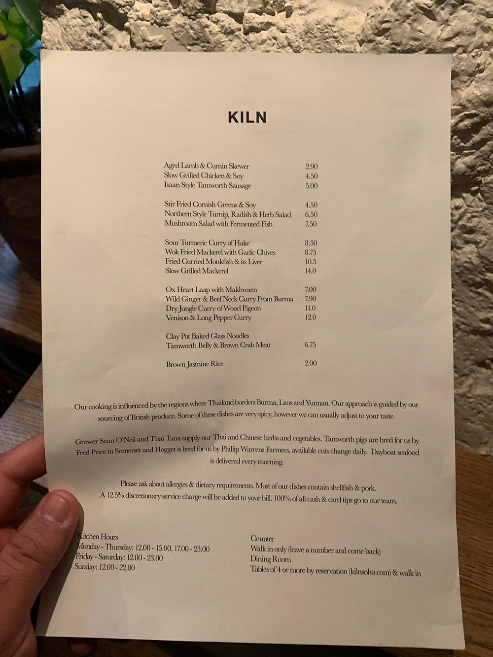 KILN Soho menu