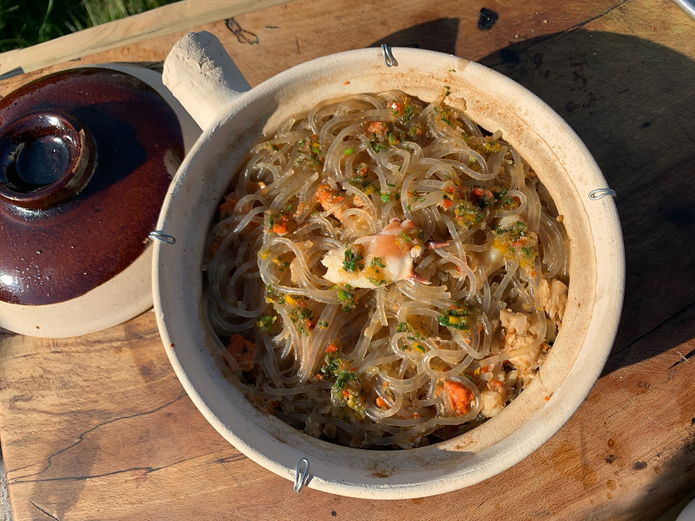 fresh crab and welsh pork belly pot noodle recipe