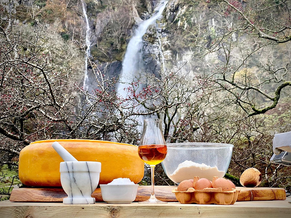 Gouda cheese wheel, cacio e pepe, Aber Falls whisky, Aber Falls waterfall