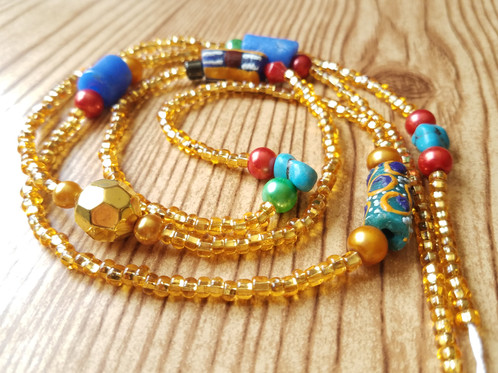 Gold and Ghana Beads Multicolor African Waist Beads and Belly