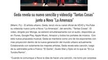 """Geda revela su nuevo sencillo y videoclip """"Tantas Cosas"""" junto a Nova """"La Amenaza&quo"""