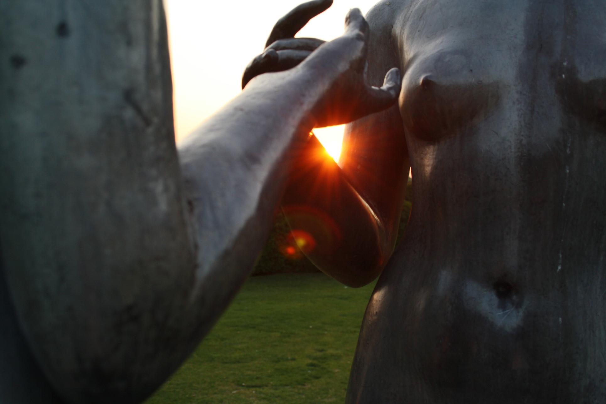 Sunset behind Tuileries statue