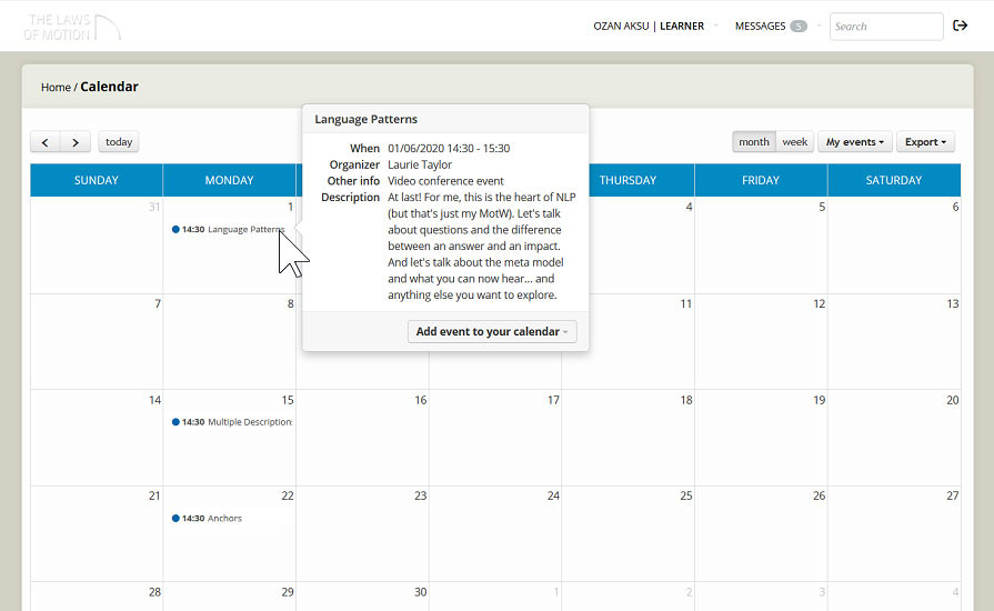 Calendar and conferences