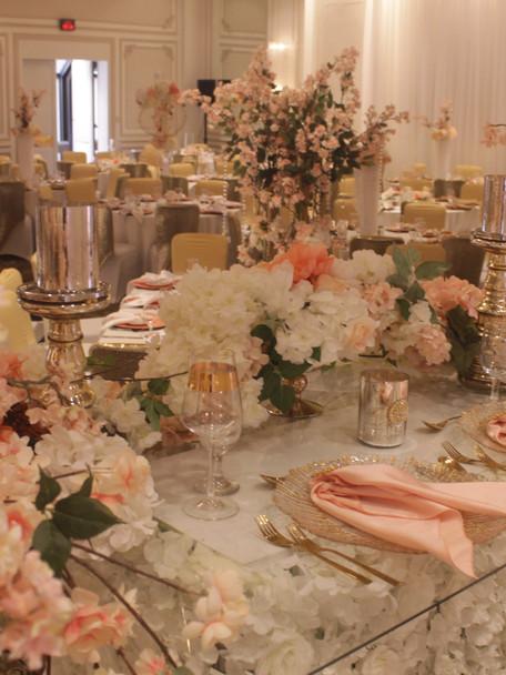 Blush wedding decor