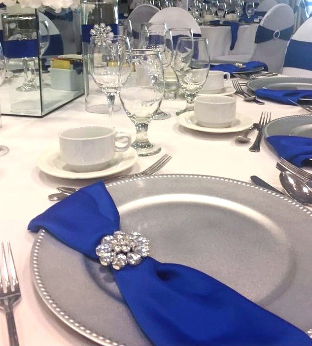 Sapphire napkin and silver charger plates