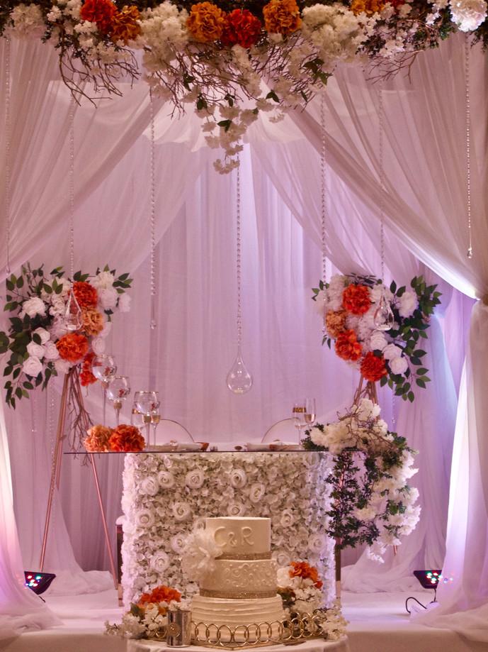 Custom canopy floral arch