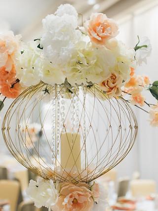 Globe cage floral centrepiece