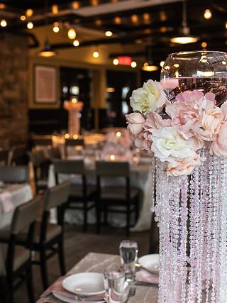 Blush floral centrepiece