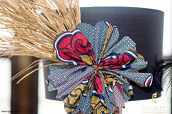 African print lampshade tablescape