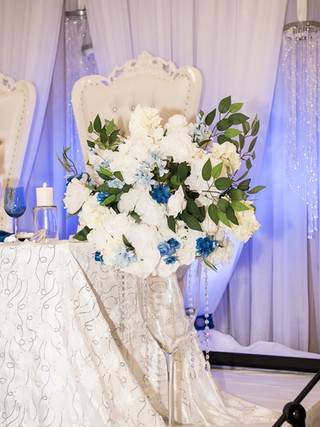 Sapphire blue wedding decor