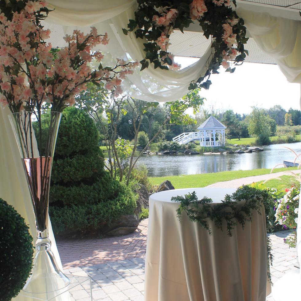 Blush and greenery decor