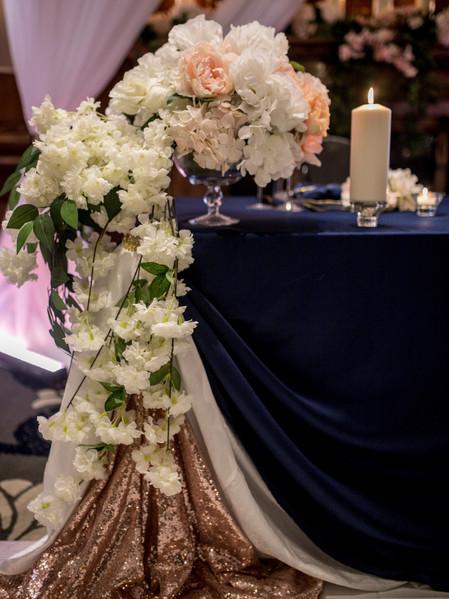 Blush floral cascade centerpiece