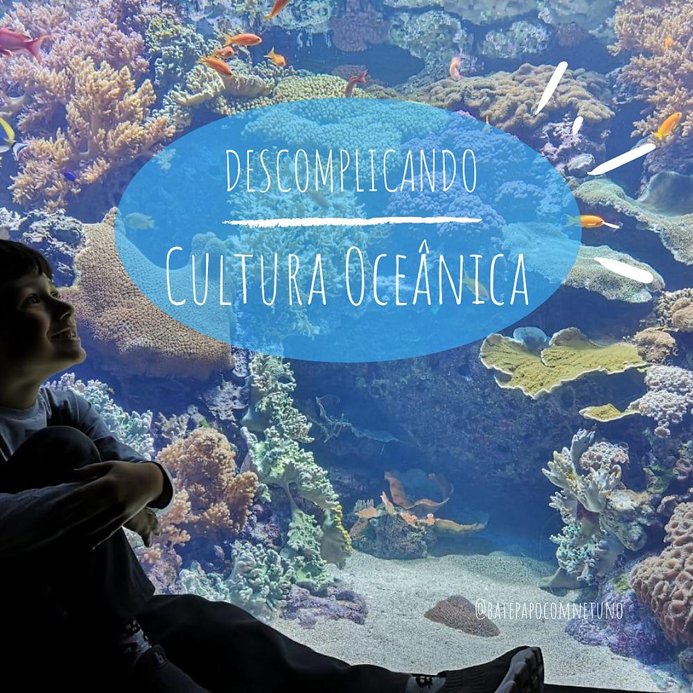 um menino está sentado e observa um aquário marinho, cheio de peixes e corais