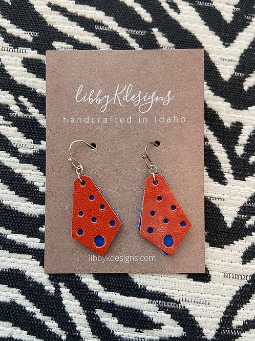 fan wear pierced double chevron in orange on royal blue