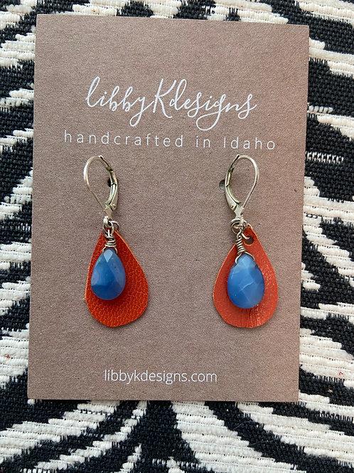 fan wear royal blue teardrop quartz on orange
