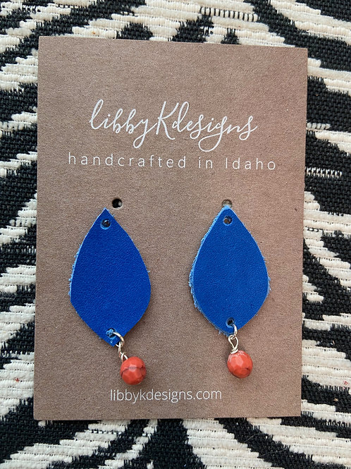 fan wear royal blue teardrop with orange bead