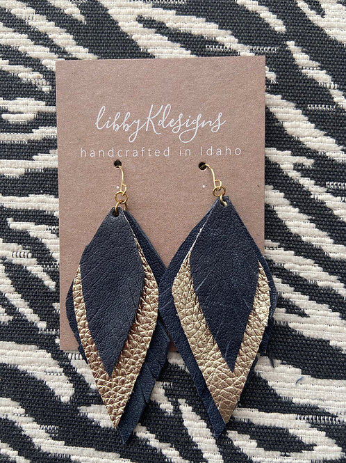 triple feather in navy and gold leather