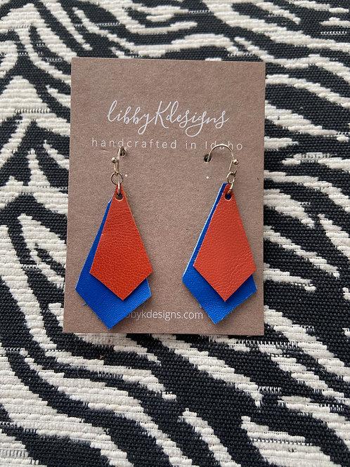 fan wear orange on royal blue double chevron