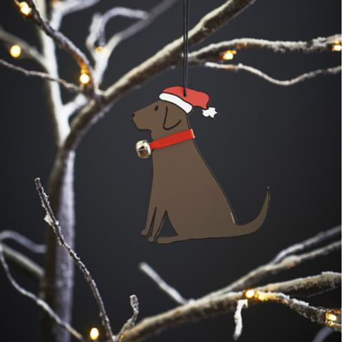 Chocolate Labrador Christmas Tree Ornament