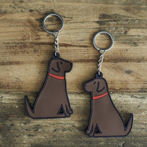 Chocolate Labrador Key Ring